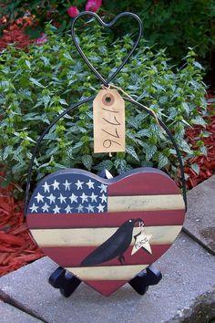 Primitive Americana Wood Flag/Crow Heart Hanger