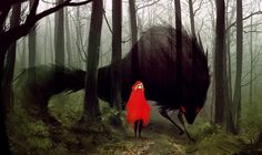 Red Riding Hood & The Wolf by Rives Alexis Charles Perrault, Spirited Art, Red Hood, Red Riding Hood, Deviantart, Fantasy Art, Cool Art, Fairy Tales, Concept Art