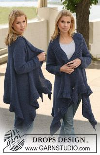 "DROPS jacket knitted from side to side in 2 strands ""Alpaca"". Size S-XXXL. ~ DROPS Design"