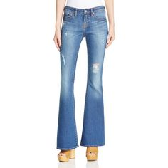 Jean Shop Stevie Destructed Flare Jeans in Medium Wash Mended ($155) ❤ liked on Polyvore featuring jeans, medium wash mended, ripped flare jeans, destroyed flare jeans, destroyed jeans, distressed flare jeans and ripped jeans