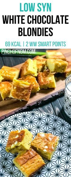 Low Syn White Chocolate Blondies | Pinch Of Nom Slimming World Recipes 69 kcal | 2.5 Syns | 2 Weight Watchers Smart Points
