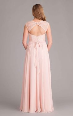 A long lace and chiffon bridesmaid dress with a lace illusion neckline and keyhole back! | Kennedy Blue Bridesmaid Dress Rosie