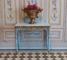 Versailles Style Console Table Miniature Dollhouse by FrenchVellum. Dollhouse Miniature Furniture.