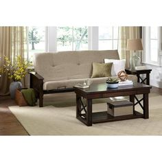 Better Homes And Gardens Paneled Wood Arm Futon With 6 Inch Mattress Brown