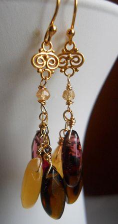 Raisins Mini Chandelier Earrings by Sueanne Shirzay on Etsy, $48.00 https://www.etsy.com/listing/112390179/raisins-mini-chandelier-earrings