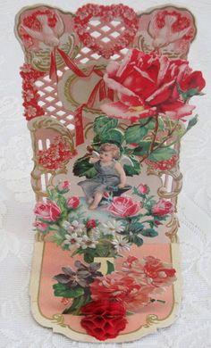 Victorian Vintage Valentine, Fold Down,  Dimensional, Cupid in a Garden