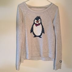 Sequin penguin sweater Super soft heather gray sweater with an adorable sequin penguin on the front. Very good condition. Gilly Hicks Sweaters Crew & Scoop Necks
