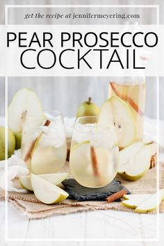 Sparkling prosecco, pear flavored simple syrup, and vodka make a delicious cocktail that's perfect for your holiday parties! Cocktail Party Food, Cocktail Drinks, Fun Drinks, Yummy Drinks, Alcoholic Drinks, Beverages, Mixed Drinks, Cold Drinks, Yummy Food