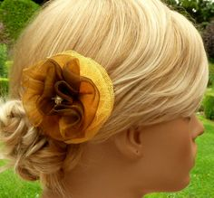 Noble Hair blossom in yellow brown colour rose fabric flower organza tulle flamenco