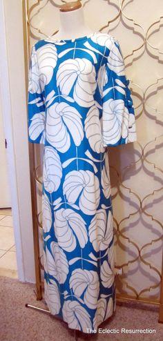 Vintage 1960s Hawaiian Dress Maxi Dress Koa of Hawaii Turquoise Luau Tropical Mod Mid-Century