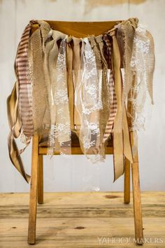 Chair tie-backs are a quick and easy way to decorate for any get together - from backyard BBQ's to formal sit-down dinners, they add a fun splash of drama to any seating arrangement. These burlap, lace andribbon tie-backs are particularly perfect for a festive wedding celebration.