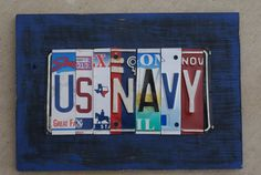 License Plate Sign US Navy by plateworks on Etsy Go Navy, Navy Man, License Plate Art, Licence Plates, Navy Chief, Navy Girlfriend, Navy Sailor, Navy Veteran, Sign Display
