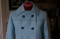 vintage 60s 70s pastel blue rain coat spring jacket double breast pea coat mod twiggy 1960s 1970s