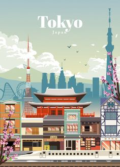 Tokyo officially Tokyo Metropolis (東京都, Tōkyō-to), is the capital of Japan. Tokyo forms part of the Kantō region on the southeastern. Poster Retro, Vintage Travel Posters, Vintage Ski, Vogue Vintage, Decor Vintage, Design Vintage, Vintage Room, Japanese Poster Design, Design Poster