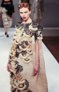 Artistic Fashion - oversized dress with textured embellishments; sculptural fashion // Shengwei Wang