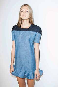 colorblock summer dress idea | Sonny Chambray Dress from Los Angeles designer Elle Sasson's 2014 collection