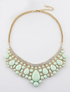 Green Drop Gemstone Gold Collar Necklace