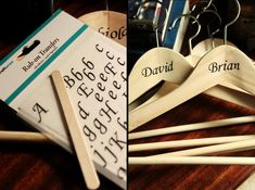 custom bridesmaid and groomsmen hangers -- what a cheap way to copy those expensive custom hangers on etsy! #groomsmengiftsideas