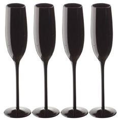 Midnight Black Champagne Glass (Single Glass): Amazon.co.uk: Kitchen & Home