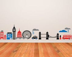London decal skyline wall decal by newpoint on Etsy London Decor, London Wall, London City, London Skyline, Playroom Mural, Bedroom Murals, Bedroom Ideas, Nursery Themes, Nursery Decor