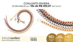 Conjunto Pulseiras Rivieras em Ouro - De: R$ 4.695,20 Por: R$ 4.225,68 ou 10x de R$ 422,57 sem juros #diadamulher #diadasmulheres