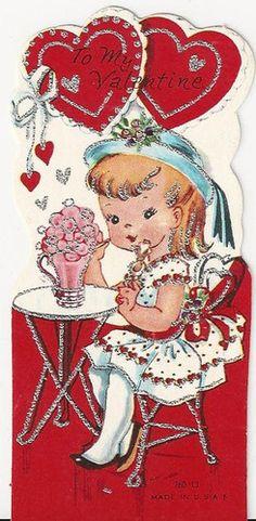 Vintage Valentine Girl Sipping Soda