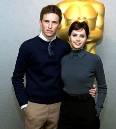 """They Are """"Everything""""/ Eddie Redmayne and Felicity Jones hit an Academy of Motion Picture Arts and Sciences screening of their acclaimed, buzzed-about new film The Theory of Everything — a biopic about physicist/cosmologist Stephen Hawking and his wife, Jane — Oct. 21."""