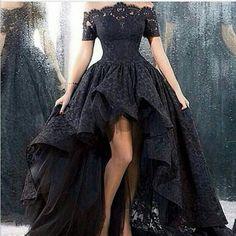 2015 Black Lace Evening Dress Asymmetrical Floor-length Off-the -shoulder Vestidos longos Evening Gowns