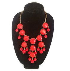 Red Full size J Crew inspired Bubble Statement Necklace  Brand New  Color: Red Length: 26 inches Silver Tone Chain Extender: up to 3 inches  All items in my shop are on a BUY 2 GET 1 FREE Sale of equal or lesser value!