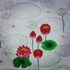 Tropical wonderland #coloringbook#tropicalwonderland#milliemarotta#lotusflowers#lotus#pink#red#green