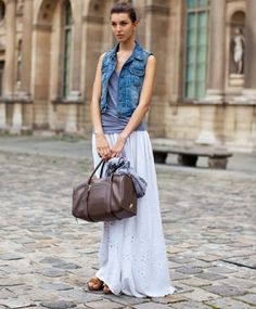 Perfect summer outfit. Denim vest and maxi skirt. Cute and casual.