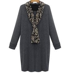 Women Antumn Long Thick Dress European Casual Velent Winer Plus Size Loose Pullovers Clothing With Scarf M - 5XL