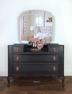 Dark grey / black with rose gold dressing table. Gold Bedroom Decor, Art Deco Bedroom, White Bedroom, Master Bedroom, Dressing Table With Drawers, Vintage Dressing Tables, Blue Drawers, Large Drawers, Grey Furniture