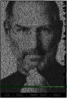 Steve Jobs, Ralph Ueltzhoeffer Textportrait - Famous Portraits Built from Thousands of Words - In these Textportraits by Ralph Ueltzhoefer, words and images blend together to define complex visual portraits. The Mannheim-based artist uses words randomly selected from the internet to generate portraits of many well-known faces including Jimi Hendrix, Pablo Picasso, and Steve Jobs.