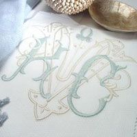 Love the letters and 2 colors chosen for the monogram----perfect for table linens, Bed shams, sheets, towels and stationery