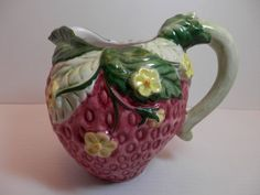 Vintage Strawberry Pitcher | Love pitchers and tableware shaped like fruit. Comb flea markets for ...