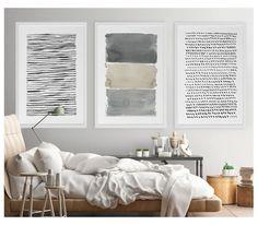 Gran arte abstracto, arte abstracto, pintura Acuarela abstracta, Extra grandes, Set, gris pared arte, gran impresión abstracta, abstracto arte