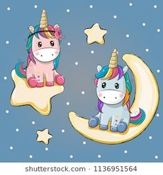 Valentine card with Lovers Unicorns on a moon and star
