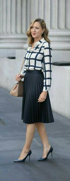 I clearly love the pleated skirt and blouse look
