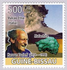 """Guinea Bissau Eruption of Etna volcano and Haroun Tazieff in the foreground. Haroun Tazieff May 1914 — 2 February was a French volcanologist and geologist. The stamp was issued in the series """"Homenagem a Haroun Tazieff"""". Etna Volcano, Ms Gs, Sicily, Postage Stamps, Volcanoes, February, Movie Posters, Coins, French"""