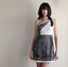 Lace dress  vintage style with one shoulder cut ivory by Minxshop, $143.00
