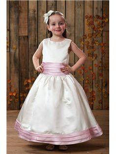 Beautiful A-line Scoop Tea-length Sash Flower Girl Dress