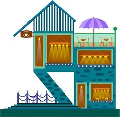 coffee house sketch outdoor stairsway two storeys design