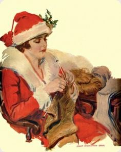 Poster by James Montgomery Flagg, better known for his I Want You for the US Army Uncle Sam Victorian Christmas, Vintage Christmas Cards, Christmas Images, Vintage Holiday, Christmas Art, Vintage Cards, Handmade Christmas, Vintage Images, Victorian Valentines