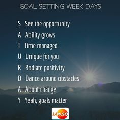 The last of our daily goals motivation series.  Saturday is the end of a week so seek success with a passion in your hearts.