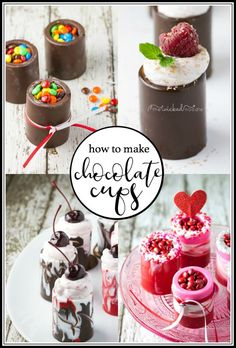 Would you like to know how to make the easiest edible mini chocolate cups from molds? I'll show you how to make them, what to put in them and share a delicious and easy filling recipe! My favorite is strawberry mousse but you could add fruit or any of the Mini Desserts, Chocolate Cup Desserts, Shot Glass Desserts, Chocolate Shots, Easy Desserts, Chocolate Cheesecake, Best Dessert Recipes, Candy Recipes, Dinner Recipes