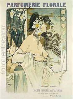 Poster advertising Parfumerie Florale Toulouse Painting by Foache Reproduction Toulouse, Art Nouveau Design, Art Deco, Drawing Sketches, Drawings, Sketching, Jugendstil Design, 1920s Art, Alphonse Mucha