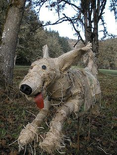 Scarecrow dog by hilly bean Make A Scarecrow, Halloween Scarecrow, Fall Halloween, Halloween Crafts, Halloween Decorations, Scarecrow Ideas, Halloween Yard Art, Halloween Stuff, Vintage Halloween