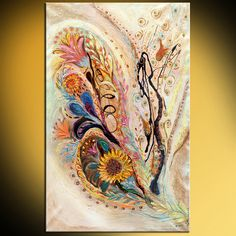 """46"""" Abstract Sunflower oriental painting on canvas orange rose blue yellow color white background thick paint huge painting Dual orientation"""