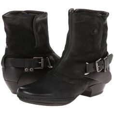 Miz Mooz Evelyn (Black) Cowboy Boots ($185) ❤ liked on Polyvore featuring shoes, boots, ankle boots, black buckle boots, black bootie, black boots, buckle ankle boots and cowboy boots